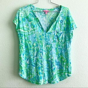 LILLY PULITZER Duval notch top linen pocket S tee